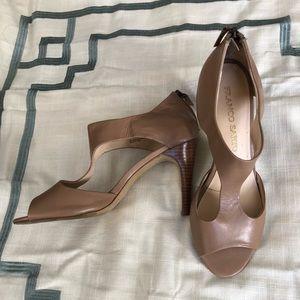 Franco Sarto Taupe leather Peep toe heels Sandals